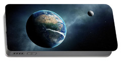 Earth And Moon Space View Portable Battery Charger