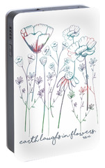 Portable Battery Charger featuring the digital art Earth Laughs In Flowers by Heather Applegate