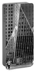 Portable Battery Charger featuring the photograph East 42nd Street, New York City  -17663-bw by John Bald