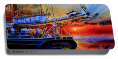 Portable Battery Charger featuring the painting Red Sky In The Morning by Hanne Lore Koehler