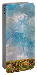 Portable Battery Charger featuring the painting East Field Seedlings by Judith Rhue