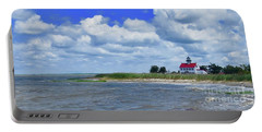 East Point Lighthouse At High Tide Portable Battery Charger by Nancy Patterson