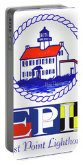 Portable Battery Charger featuring the digital art East Point Lighthouse Poster - 2 by Nancy Patterson