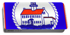 Portable Battery Charger featuring the mixed media East Point Lighthouse Road Sign by Nancy Patterson