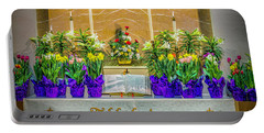 Portable Battery Charger featuring the photograph Easter Alter And Flowers by Nick Zelinsky
