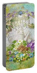 Portable Battery Charger featuring the mixed media Easter Breakfast by Mo T