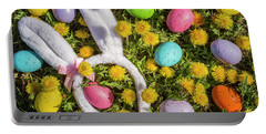 Portable Battery Charger featuring the photograph Easter Eggs And Bunny Ears by Teri Virbickis