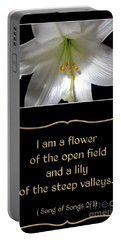 Easter Lily With Song Of Songs Quote Portable Battery Charger