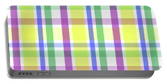 Portable Battery Charger featuring the digital art Easter Pastel Plaid Striped Pattern by Shelley Neff