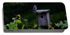 Eastern Bluebird In The Rain Portable Battery Charger