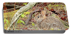 Portable Battery Charger featuring the digital art Eastern Cottontail Rabbit by Kristia Adams