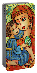 Portable Battery Charger featuring the painting Easter Madonna by Eva Campbell