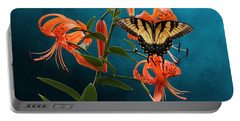 Eastern Tiger Swallowtail Butterfly On Orange Tiger Lily Portable Battery Charger