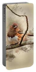 Bird Art - Eastern Towhee - Female Portable Battery Charger by Ron Grafe