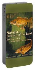 Portable Battery Charger featuring the photograph Eat More Fish Vintage World War I Poster by John Stephens