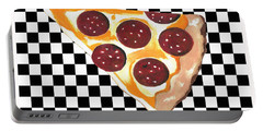 Portable Battery Charger featuring the mixed media Eat Pizza by Kathleen Sartoris