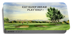Eat Sleep Dream Play Golf - Carnoustie Golf Course Portable Battery Charger by Bill Holkham