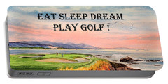 Eat Sleep Dream Play Golf - Pebble Beach 7th Hole Portable Battery Charger by Bill Holkham