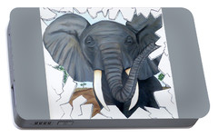Portable Battery Charger featuring the painting Eavesdropping Elephant by Teresa Wing
