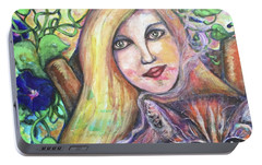 Portable Battery Charger featuring the painting Eazybreezylazy Sunday by Rae Chichilnitsky