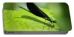 Portable Battery Charger featuring the photograph Ebony Jewelwing by Ricky L Jones