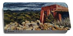 Portable Battery Charger featuring the painting Echoes Of Tularosa, Museum Hill, Santa Fe, Nm by Erin Fickert-Rowland