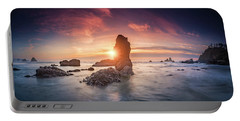 Portable Battery Charger featuring the photograph Ecola State Park Beach Sunset Pano by William Lee