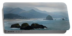Ecola State Park View Of Haystack Rock And 3 Arch Rocks Portable Battery Charger
