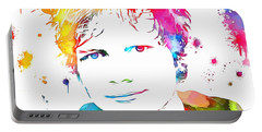 Ed Sheeran Paint Splatter Portable Battery Charger by Dan Sproul