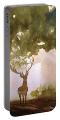 Portable Battery Charger featuring the painting Edge Of The Forrest by Marilyn Jacobson