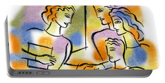 Portable Battery Charger featuring the painting Education, Working Together by Leon Zernitsky
