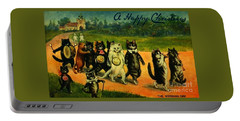 Portable Battery Charger featuring the painting Edwardian Cat Wedding Day Celebration March by Peter Gumaer Ogden