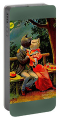 Portable Battery Charger featuring the painting Edwardian Cats In Love by Peter Gumaer Ogden