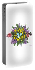 Portable Battery Charger featuring the photograph Eggs In Dandelions, Lilacs, Violets And Tulips by Lise Winne