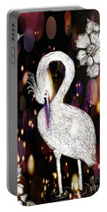 Portable Battery Charger featuring the drawing Egret 16-01d by Maria Urso