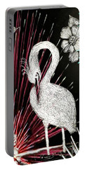 Portable Battery Charger featuring the drawing Egret 16-02d by Maria Urso