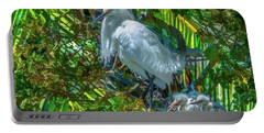 Egret And Chicks Portable Battery Charger