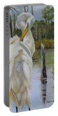 Portable Battery Charger featuring the painting Egret At Bayou Coco Point  by Phyllis Beiser