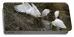 Portable Battery Charger featuring the photograph Egret Exit by George Randy Bass