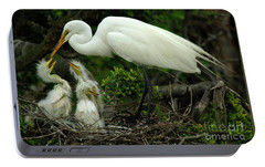 Majestic Great White Egret Family Portable Battery Charger by Bob Christopher