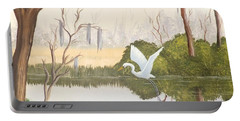 Egret In Flight 1 Portable Battery Charger