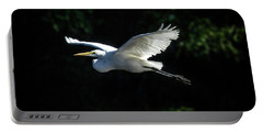 Egret In Flight Art Greenfield Lake Portable Battery Charger