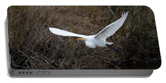 Egret In Flight Portable Battery Charger by George Randy Bass