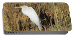 Egret In Grass Portable Battery Charger by Bonnie Muir