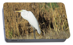 Portable Battery Charger featuring the photograph Egret In Grass by Bonnie Muir