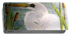 Egret In The Cattails Portable Battery Charger