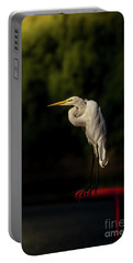 Portable Battery Charger featuring the photograph Egret On Deck Rail by Robert Frederick