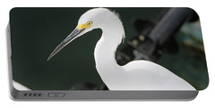Portable Battery Charger featuring the pyrography Egret On The Pier by Shoal Hollingsworth