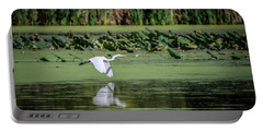 Portable Battery Charger featuring the photograph Egret Over Wetland by Ray Congrove