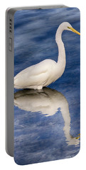 Egret Reflection On Blue Portable Battery Charger